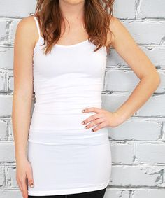 Loving this White Extra-Long Tank - Women on #zulily! #zulilyfinds