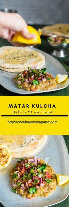 Matar Kulcha Recipe, How to make Delhi Style Matar Kulcha Veg Recipes, Indian Food Recipes, Asian Recipes, Vegetarian Recipes, Cooking Recipes, Ethnic Recipes, Appetiser Recipes, Recipies, Savoury Recipes