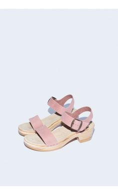 Two Strap Clog on Mid Heel in Blush