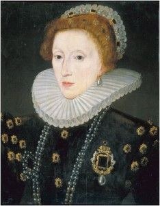 """Elizabeth was more concerned with propaganda and with portraits depicting her as she wanted to be seen by her subjects and foreign powers, rather than how she herself actually looked. Alison Weir writes of how after Nicholas Hilliard painted a 40+ year old Elizabeth as an """"icon of royalty"""", Elizabeth """"began to take an increasing interest in how she was represented, insisting upon the trappings and appearance of majesty taking precedence over any attempt at realism""""."""