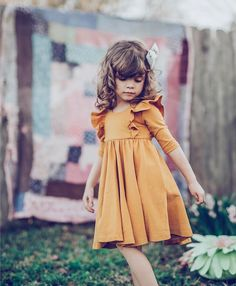 Lovely Lucca has me playing favorites towards our mustard ruffle so bad right now. Kids Frocks, Frocks For Girls, Little Girl Outfits, Cute Outfits For Kids, Little Girl Fashion, Little Girl Dresses, Fashion Kids, Toddler Fashion, Children Outfits