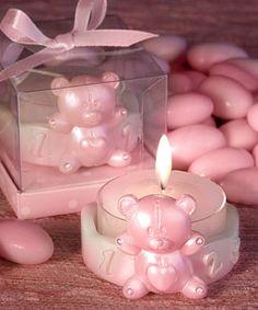 Pink bear candles