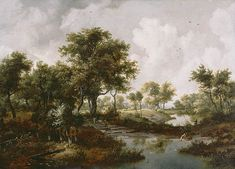 Meindert Hobbema, Dutch, 1667 A Wooded Landscape Oil on panel 24 x 33 1/2 in. 84.PB.43