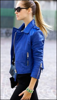 Blue Lether jacket!!! Wow!  I should have this! Ok Ozz.. calm down!!