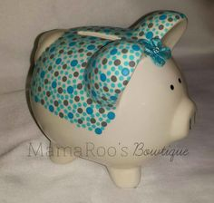 Ceramic Hand Painted Turquoise and Gray Piggy by MamaRoosBowtique