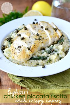 Lighter Chicken Picatta Risotto with Crispy Capers #glutenfree | iowagirleats.com