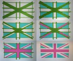 Painting a Union Jack on the (guest) bedroom wall.