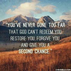 Not only is our God a God of big miracles, but He is also a God of second chances. God loves to take His people back when they have backslid from Him, build them up and fully restore them again, and then place them on the path of His perfect will for their lives. It is never too late to start your show all over again with the Lord.