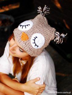 zdjęcie czapka sowa sówka owl handmade miś DIY panda w pełnej rozdzielczości