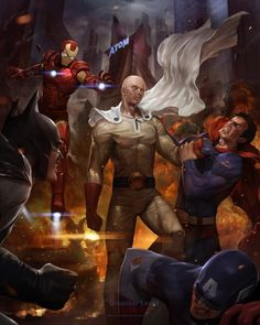 """One-Punch Man"" Takes On American Super-Heroes In Impressive Tribute Art ""Times change. It's no longer Goku throwing down with AmeComi's heroes in fan art. Now, handing down the hurt on the Justice League and Avengers, it's Saitama and a great example of that Korean game concept artist Lee Woo-chul's take on One-Punch Man versus Marvel's Captain America and Iron Man and DC's Superman and Batman."" -Scott Green"