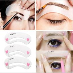 3 styles/set Grooming Stencil Kit Shaping DIY Beauty Eyebrow Template Make Up Tool - EyeBrowStencils United States - Shop Online World's Largest Best and Top Collection of EyeBrow Stencil 2020 Eyebrow Grooming, Eyebrow Makeup, Diy Makeup, Grooming Kit, Makeup Tips, Makeup Products, Beauty Makeup, Eyebrow Brush, Makeup Eyes