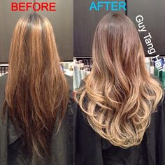 I gave my new client Thai my signature ombré today! As you can see by lightening her ends, it draws attention to her length and brings it out to contour her layers and give more texture and volume to her stringy dark ends that does before which does nothing for her! Another testament to why lighter ends makes sense versus dark ends and light on top! #ombre #balayage #asianhair