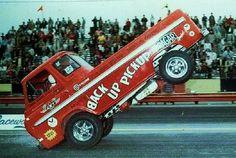 Dick Harding 'Back Up Pickup'' Ford wheelstander Funny Car Drag Racing, Nhra Drag Racing, Dragster Car, Dodge Muscle Cars, Old Race Cars, Hot Rod Trucks, Vintage Race Car, Drag Cars, Performance Cars