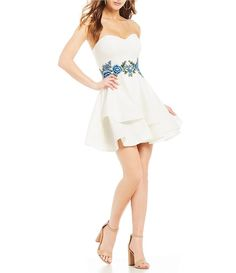 2a47c62f6a4ef B. Darlin Strapless Floral Embroidered Waist Fit-and-Flare Dress Fit And  Flare