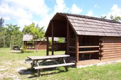Oleta River State Park cabins for rent.  The park is located on the Biscayne Bay in north Miami, Florida.