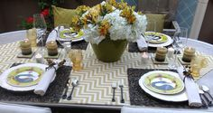 Chevron table runner with a touch of chartreuse