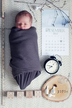 Newborn baby boy announcement %u2013 I like the idea of the calendar and clock to display date and time of birth%u2026Maybe an old-time scale with just enough weight on it too