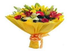 In the bunch you have 8 yellow and red roses (4 each), 6 asiatic lilies (4 yellow and 2 red) with lots of fillers packed in a yellow paper and tied up with a yellow ribbon.