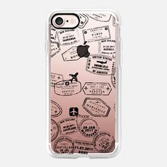 Casetify iPhone 7 Case and Other iPhone Covers - Let's Travel...Where too by Maria Kritzas | #Casetify #travel #stamps #transparent