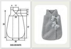 Une bonne idée de cadeau pour fêter l'arrivée de bébé: la turbulette qui lui permet de gigoter à son aise, sans se découvrir. Entièrement... Baby Knitting Patterns, Knitting For Kids, Crochet For Kids, Sewing For Kids, Baby Sewing, Baby Patterns, Filet Crochet, Knit Crochet, Tricot Baby