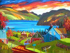 Painting by Quebec painter Yvon St-Aubin Landscape Quilts, Landscape Art, Landscape Paintings, Artist Painting, Artist Art, Painting & Drawing, Canadian Painters, Canadian Artists, Images D'art