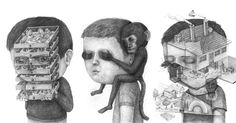 The heads atop each of these surreal graphite portraits seem to act as a canvas in and of themselves, as entire scenes and landscapes spill forth from each oversized face. Drawn by Austrian artist Stefan Zsaitsits (previously), each piece seems to depict an individual who is literally or figurativel