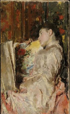 Woman with an Album, c.1888 by Antonio Mancini (Italian 1852 - 1930)