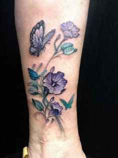 Ankle Tattoo Design For Women : Design Purple Flower And Butterfly Ankle Tattoo