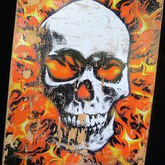 Well-Worn Vintage World Industries Skateboard Flaming Skull Steve Rocco Cali USA #WorldIndustries