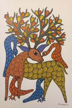 Indian Traditional Paintings, Art Projects, Projects To Try, Madhubani Painting, Drawing Board, Indian Art, Folk Art, Deer, Art Drawings