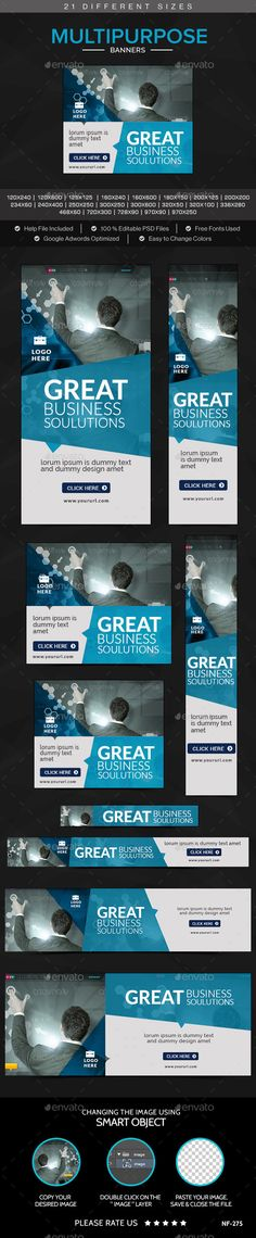 Multipurpose Web Banners. 21 awesome quality banner template PSD files ready for your Services, products, campaigns.Each PSD files are layered and fully organized. You can use this banners for google adwords & Adroll too. ( All google adwords, Adroll banner sizes included)