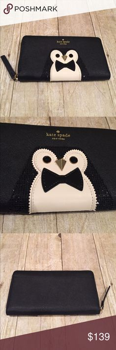 ONE HOUR SALEKATE SPADE (sold out in stores) Kate spade penguin zip around wallet brand new   Never used.   Sold out in stores.  8x4 kate spade Bags Wallets