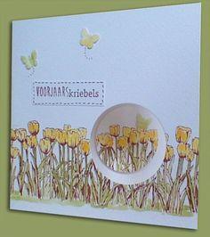 Tulpenkaart van de aanschuifworkshop ook mooi in het geel Scrapbooking, Scrapbook Paper Crafts, Marianne Design Cards, Poppy Cards, Card Making Techniques, Card Sketches, Sympathy Cards, Stamping Up, Flower Cards