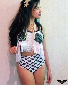 Hotpants escamas cropped conchas, seashells, fringes, franjas, mermaidfashionista, mermaid clothes, moda sereia, mermaid chic, sereia