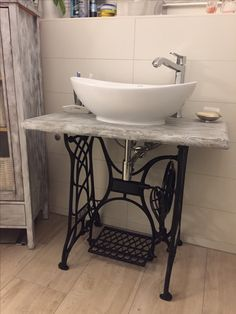 Upstairs Bathrooms, Small Bathroom, Basement Bathroom, Rustic Bathroom Cabinet, L Shaped House, Laundry Room Remodel, Toilet Room, Vintage Sewing Machines, Repurposed Items