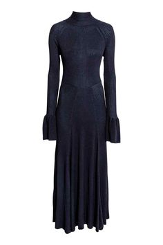 Ribbed dress with flounces: Calf-length, ribbed dress with a heavy drape, a polo neck with ties at the back of the neck, an open back, a seam at the waist and flared skirt. Long sleeves with a wide flounce at the cuffs.