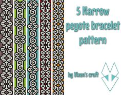5 Narrow peyote bracelet patterns odd count peyote por Vixenscraft