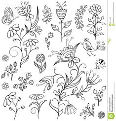 Illustration about Set of hand drawn flowers on white background. Illustration of daisy, backgrounds, decor - 46773032 Doodle Drawings, Easy Drawings, Doodle Art, Hand Embroidery Patterns, Zentangle Patterns, Line Drawing, Drawing Sketches, Flower Doodles, Doodle Flowers
