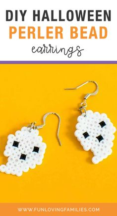 What better way to accessorize one of our favorite holidays than with these adorable Halloween Perler Bead earrings. They're super-easy to make with mini Perler beads and some basic earring findings. Keep reading to learn how! #halloween #perlerbeads #halloweencraft #halloweendiy #crafts #kidscrafts #kidsactivities #activities #craftideas #funforkids Fun Halloween Treats, Halloween Labels, Halloween Party Themes, Halloween Crafts For Kids, Diy Halloween Decorations, Vintage Halloween, Halloween Pumpkins, Halloween Halloween, Day Of Dead Tattoo