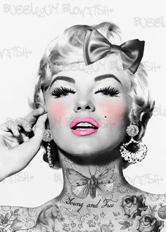 Tattooed Marilyn Monroe The Money Shot Poster 24x36 inch Bad Girl Makin it Rain