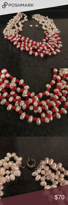 Freshwater pearl and coral beads necklace It very elegant Freshwater pearl and coral beads necklace freshwater pearl earrings Jewelry Necklaces
