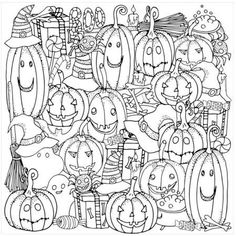 Jack-O-Lanterns I by Eazl Premium Gallery Wrap, Size: 10 x 10, Multicolor