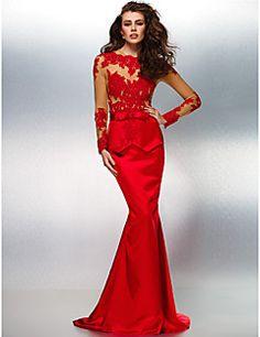 Trumpet/Mermaid Jewel Sweep/Brush Train Lace And Stretch Satin Evening Dress (201411507)