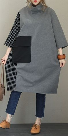 Fall Loose High Neck Cotton Dresses For Women Q1558,  #Cotton #Dresses #Fall #High #loose #neck #Q1558 #Women