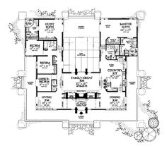 If we ever build this is the lay out I want. U shaped, all one level, all rooms along the outer walls with a central gathering room in the middle.  No stairs, no 2 levels being heated/ cooled, no super high ceilings with fans...  I don't want the outside to look like this one does, however.  Southwest   House Plan 99289
