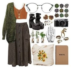 Change the shoes though to combat boots - Kleidung - Hippie Outfits, Retro Outfits, Vintage Outfits, Casual Outfits, Grunge Outfits, Earthy Outfits, Aesthetic Fashion, Look Fashion, Aesthetic Clothes