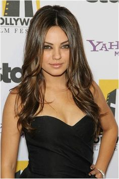 Mila Kunis Long Hairstyle With Round Faces