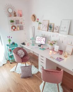 Luxury Home Interior Most Popular Corner Desk Home Office Ideas for Small Spaces Teen Bedroom Designs, Room Design Bedroom, Cute Bedroom Ideas, Cute Room Decor, Room Ideas Bedroom, Bedroom Decor, Study Room Decor, Home Office Decor, Home Decor