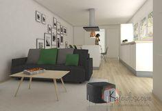 Vista 3D salón-cocina-comedor vivienda vacacional.