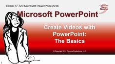 In this lesson you will learn:  -How to create videos from PowerPoint -Share as a Video from PowerPoint -Record and edit in Camtasia. -Add a sound file from Audacity  This one was fun to create. Enjoy! eBeth, the Computer Mama